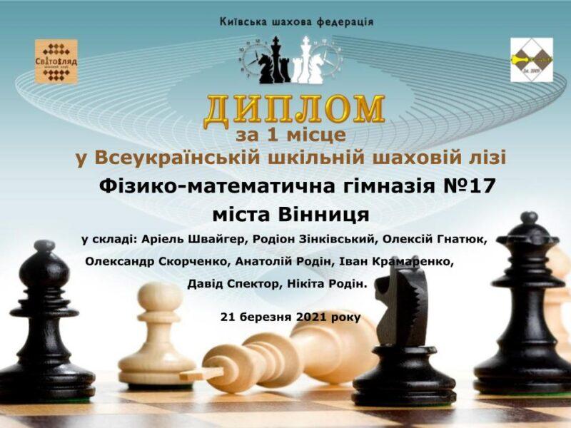 Шахісти Вінницької МДЮСШ-6 в складі ФМГ-17 виграли Шкільну лігу України